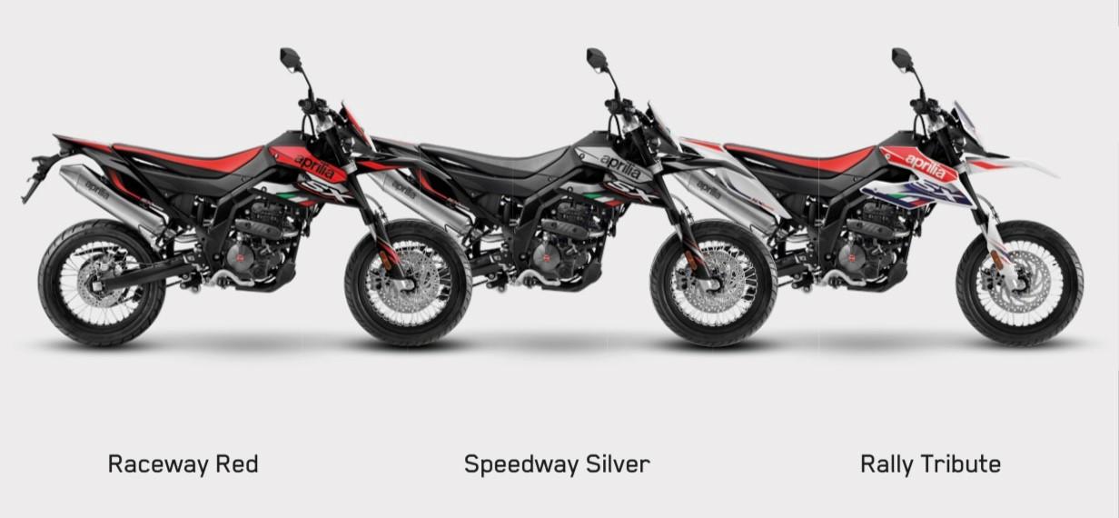 SX 125 MY21 (Euro5) , Aprilia SX125 , Rally Tribute , Speedway Silver , Raceway Red , Aprilia , Aprilia SX125 , Tuono , RS125 , Mondial SMX , Malaguti XSM